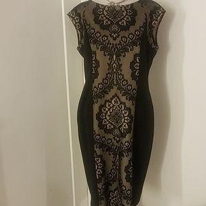 Sleeveless lacy black and tan dress sz 12
